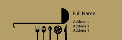 Cooking Utensils Silhouette Address Label Template